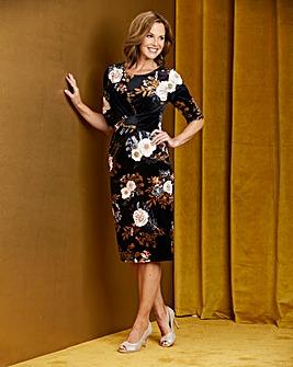 Black Print Drape Front Velour Dress
