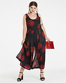 Black Printed Chiffon Jumpsuit