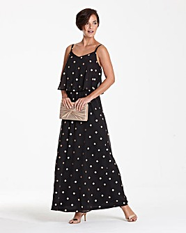 Foil Spot Print Layer Maxi Dress