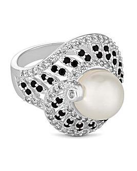 Jon Richard Silver Pearl Swirl Ring