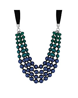 Mood Tonal Blue Pearl Ribbon Necklace