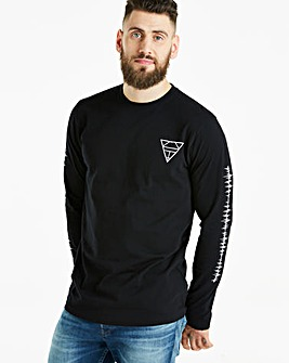 Jacamo Black L/S Graphic T-Shirt Regular