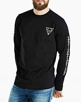 Jacamo Black L/S Graphic T-Shirt Regular