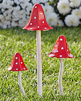 Set of Three Mushroom Windchimes