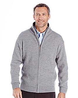 Premier Man Grey Rib Zipper Cardigan R