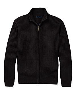 Premier Man Black Rib Zipper Cardigan R