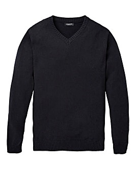 Capsule Black V- Neck Cotton Jumper L