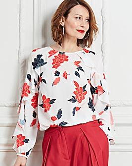 Ivroy Floral Ruffle Raglan Sleeve Blouse