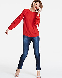 Red Ruffle Raglan Sleeve Blouse