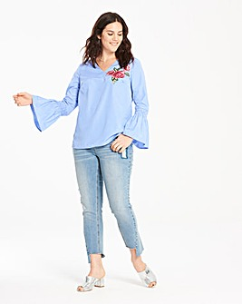 Blue Stripe Embroidered Blouse