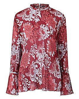 Claret Print Soft Pleated Top