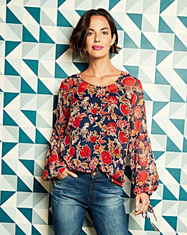 Navy Print Peasant Sleeve Blouse