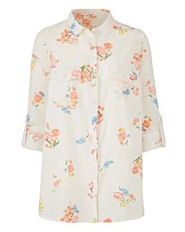 White Print Petite Printed Dobby Shirt