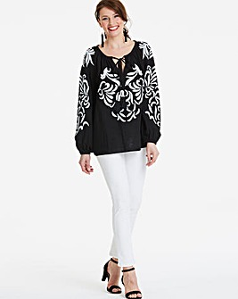 Black Embroidered Blouse With Tassels