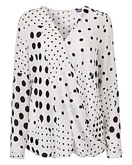 Ivory Spot Long Sleeve Wrap Blouse