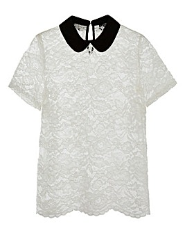 Ivory Contrast Collar Lace Top