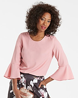 Pale Pink 3/4 Fluted Sleeve Blouse