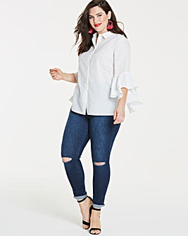 White Dramatic Sleeve Shirt