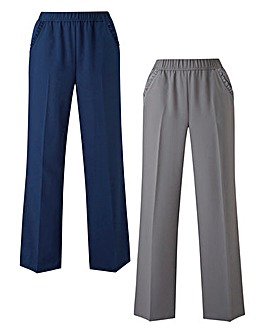 2pk Workwear Wide Leg Trousers