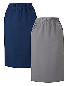 2pk Workwear Frill Trim Pencil Skirts