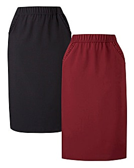 2pk Workwear Frill Trim Pencil Skirts