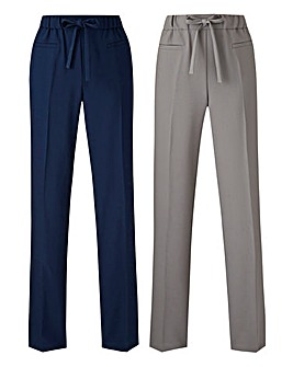 Pack of 2 Woven Straight Trousers Reg
