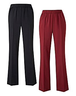 2pk Workwear Bootcut Trousers Reg