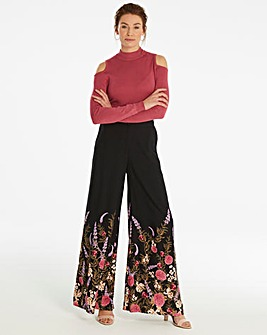 Border Print Superwide Leg Trousers Reg