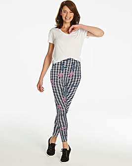 Gingham Print Stretch Jersey Leggings