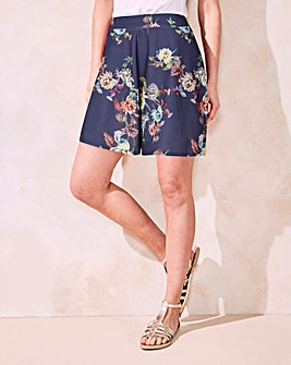 Printed Crepe Stretch Shorts