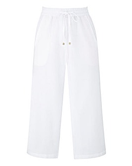 Petite Linen Mix Crop Trousers
