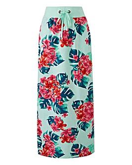 Print Slouch Linen Mix Maxi Skirt