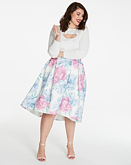 Hi Low Hem Print Prom Skirt