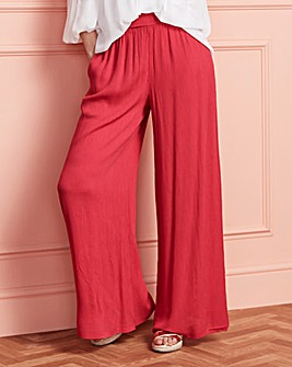 Crinkle Shirred Waist Wide Trousers