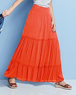 Crinkle Shirred Waist Maxi Skirt