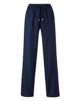 Petite Linen Mix Straight Leg Trousers