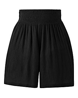 Petite Crinkle Shirred Waist Shorts