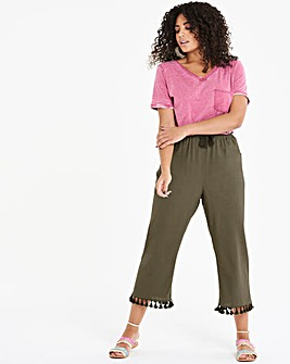 Linen Rich Wide Crop Tassle TrimTrousers