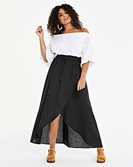 Linen Rich Wrap Front Maxi Skirt