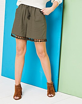 Tassle Trim Linen Rich Shorts