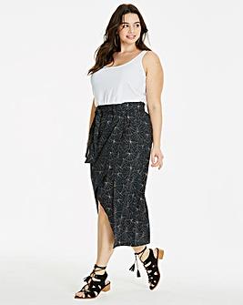 Poplin Tie Waist Wrap Midi Skirt