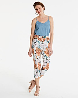 Print Linen Rich Crop Trousers