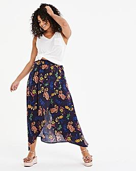 Print Linen Rich Maxi Skirt