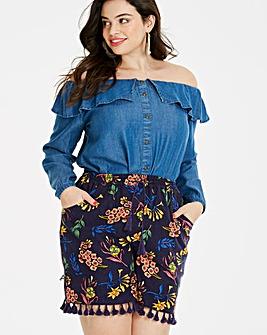 Print Tassel Trim Linen Rich Shorts