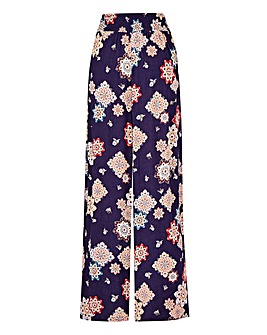 Pet Floral Print Crinkle Wide Trousers