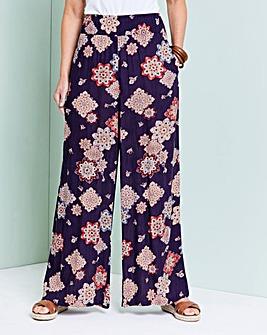 Floral Print Crinkle Shirred Waist Trs