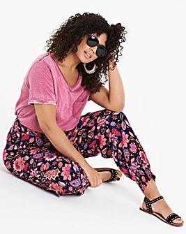 Print Crinkle Harem Jogger Trousers