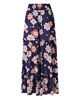 Petite Print Crinkle Maxi Skirt
