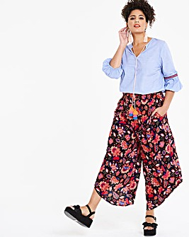 Print Crinkle Shirred Culottes