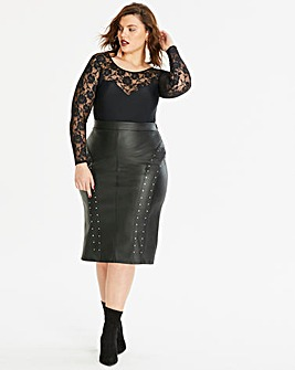 PU Stud Trim Pencil Skirt